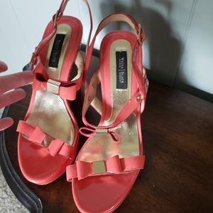 Coral peach wedge bow shoes